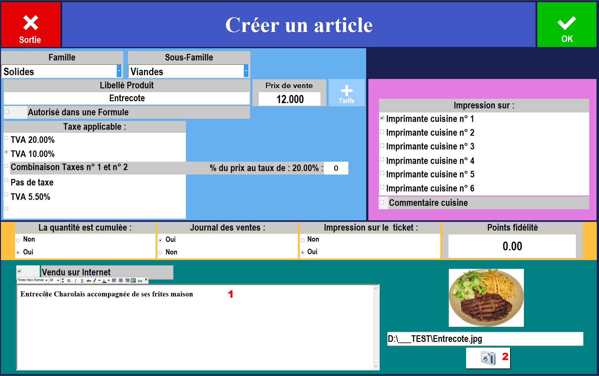 interface de création d'un nouveau produit